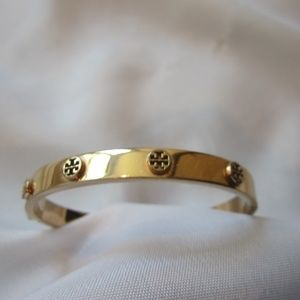 Tory Burch Rose Gold Raised Metal Hinged Bracelet